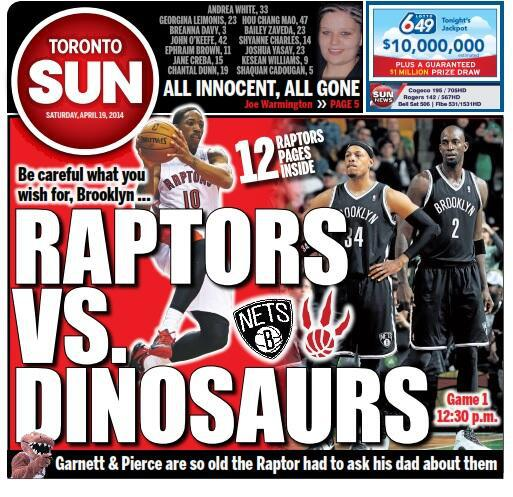 "The Raptors need to win game two against the ""dinosaurs"" or this series could be over quick"